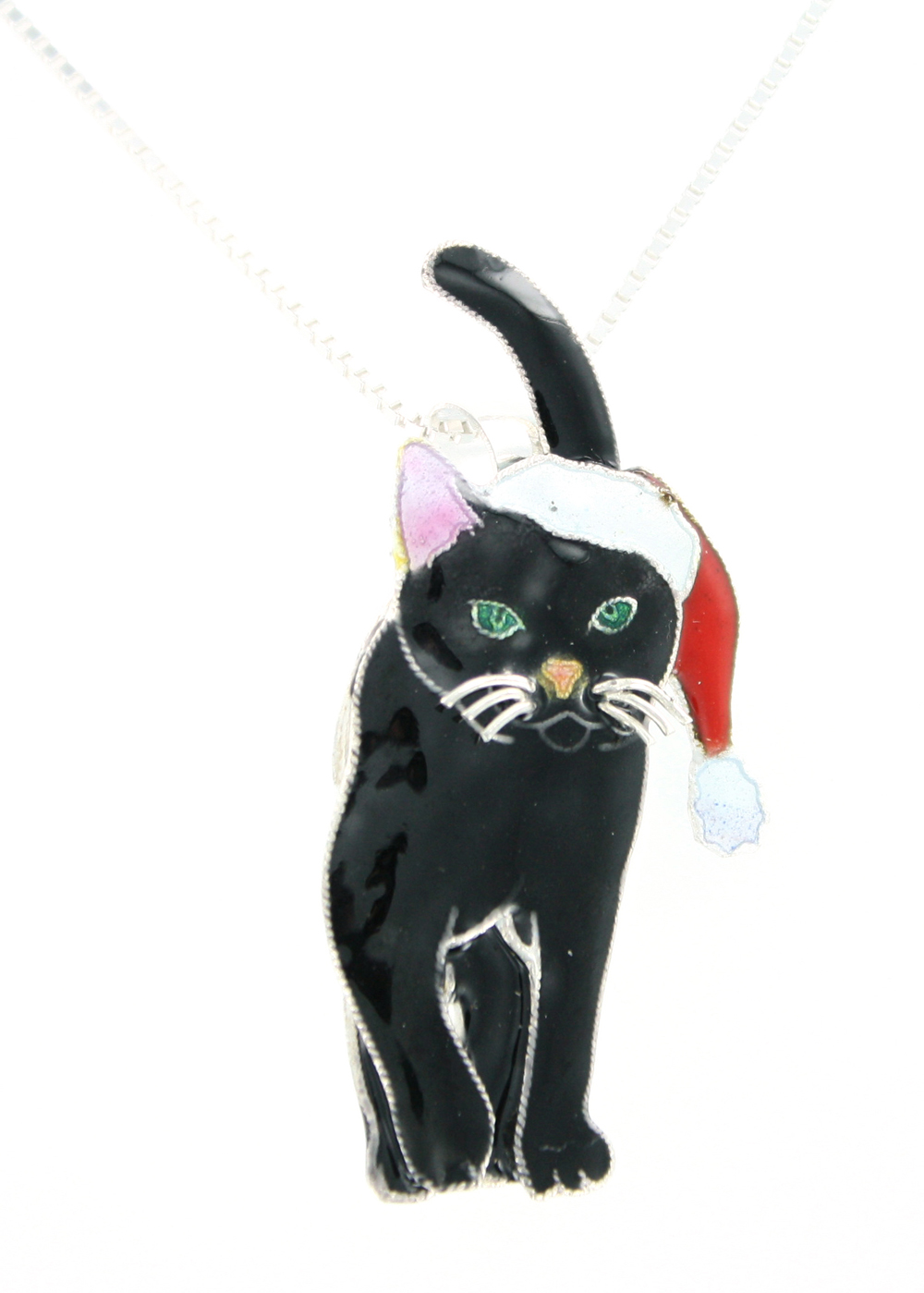 SOLD OUT - HOLIDAY Cat Pin & Pendant Sterling Silver & Enamel Necklace by Zarah *RETIRED*