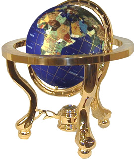 Gem Stone Globe with Brass Finish