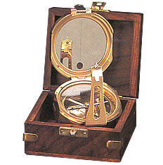 Brass Field Compass with Wood Box