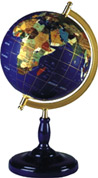 "Gemstone World Globe: 8"", Lapis Stone C Base"