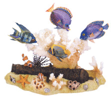 Cannon and 6 Wood Fish Collectible Figurine Set by Nature Crafts