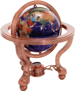 Gem Stone Globe Copper Finish