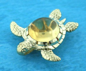 Sea Turtle with Citrine Cabochon Shell Pendant