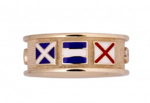 Signal Flag Band Ring With Diamonds