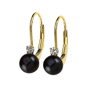 Black Pearl & Diamond Lever-Back Earrings - Click to enlarge