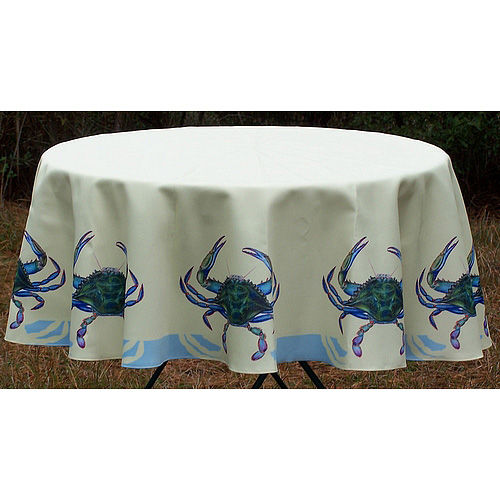 Blue Crab Round Table Cloth Ocean Offerings