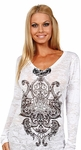 Long Sleeve Scroll V-Neck Burnout