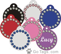 2 SIDED PET TAG WITH COLOR  CRYSTALS ON SALE