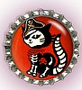 """RED PIRATE SKELE-KITTY"" BOTTLE CAP PET ID TAG"