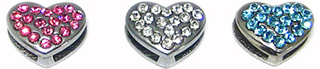 CRYSTAL PUFFY HEART CHARMS FOR SLIDER COLLAR