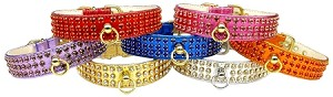 "CRYSTAL & METALLIC DOG COLLAR 1"" -  With 3 ROWS OF CRYSTALS"