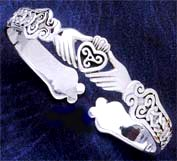 Claddagh and Knot Designed Cuff Bracelet