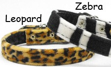 ANIMAL PRINT COLLARS AND LEASHES PLAIN OR CRYSTAL