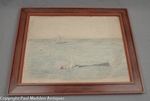 Folk art drawing of a whaling scene ca. 1875