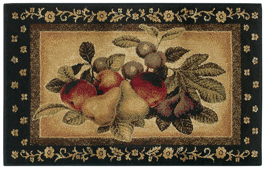 Shaw multi 3x5 kitchen apples pears grapes vine area rug approx 2 39 6 x 4 39 2 ebay - Grape design kitchen rugs ...
