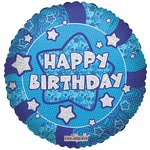 "18"" Holographic Blue Happy Birthday Balloon"