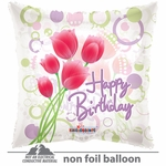 "18"" HBday Tulips Clear View Balloon"
