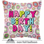 "18"" HBD Bright Circles Clear View Balloon"