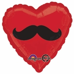 "17"" Mustache Heart Helium Savers Balloon"