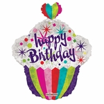 Happy Birthday Cupcake Shape Balloon