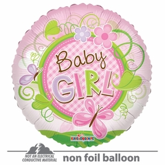 """18"""" Baby Girl Butterfly Clear View Balloon"""
