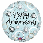 "17"" Happy Anniversary Diamonds Helium Savers Balloon"