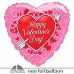 "18"" HVD Red Heart With Arrow Clear View Balloon"