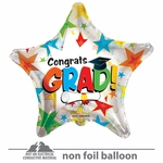 "18"" Colorful Stars Grad Clear View Balloon"