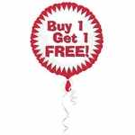 """18"""" Buy One Get One Free Balloon with Ribbon"""