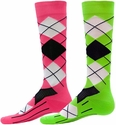 Neon Argyle Sport Compression Socks - 2 Color Options