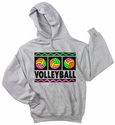 Neon Volleyball Design Hooded Sweatshirt - in 20 Hoodie Colors
