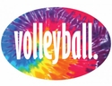 Tie-Dye Oval Volleyball Word Magnet