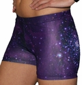 Purple Galaxy Print Spandex Shorts