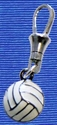 White Volleyball Charm Zipper Pull