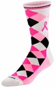 Pink Ribbon Argyle Crew Socks in Black / White / Pink