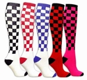 Checker Board Knee High Socks - 8 Color Options
