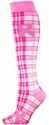 Pink Ribbon Awareness Plaid Knee High Socks