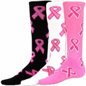 Pink Ribbon Breast Cancer Knee High Socks - 3 Color Options