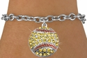 Yellow Multi-Crystal Softball Charm Bracelet