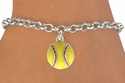 Yellow Softball Silver Charm Bracelet