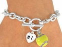 #1 Heart 3-D Yellow Softball Charm Bracelet