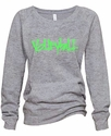 Oxford Grey Ladies Burnout Fleece Crew w/ Abstract Volleyball Design in 5 Colors