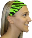 Lime Green Zebra Stripe Spandex Fabric Headband