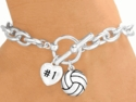 #1 Heart 3-D Volleyball Charm Bracelet