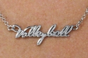 Silver Volleyball Script Charm Necklace