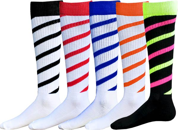894d65f56ba Colorful Candy Stripe Cyclone Knee High Athletic Socks - 25 Color ...