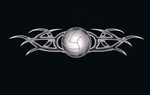Tribal Tattoo Volleyball Design T-Shirt - in 20 Shirt Colors