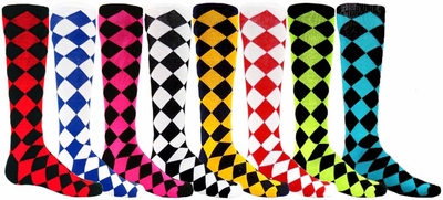 Diamond Jester Knee High Socks - 8 Color Options