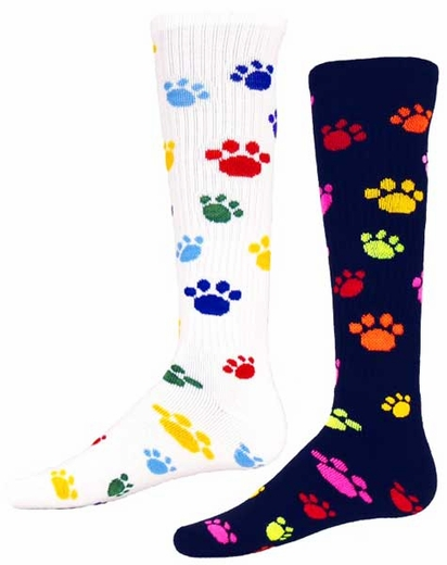 Multi-Color Paw Print Knee High Socks - in White or Black