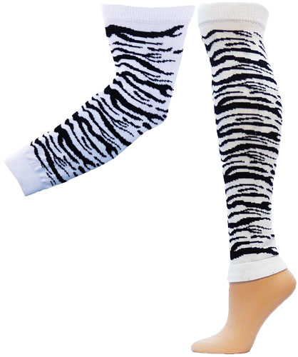 Zebra / Tiger Stripe Leg / Arm Warmers - in 3 Colors & 2 Sizes